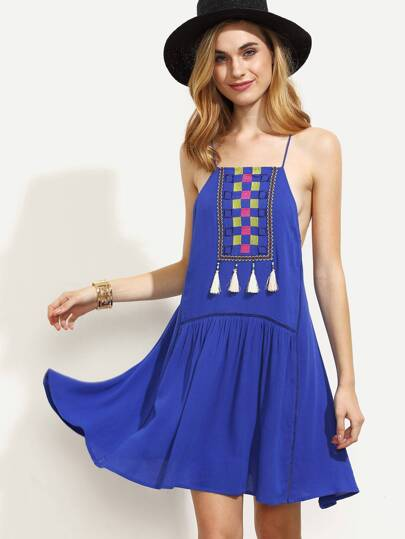Royal Blue Embroidered Tassel Spaghetti Strap Dress