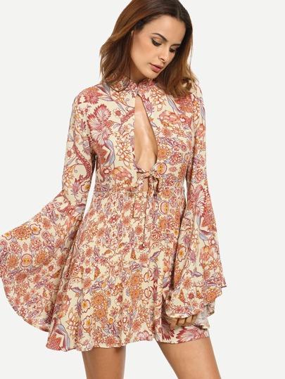 Floral Print Cutout Tie Bell Sleeve Dress