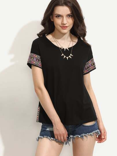 Black Embroidered Short Sleeve T-shirt