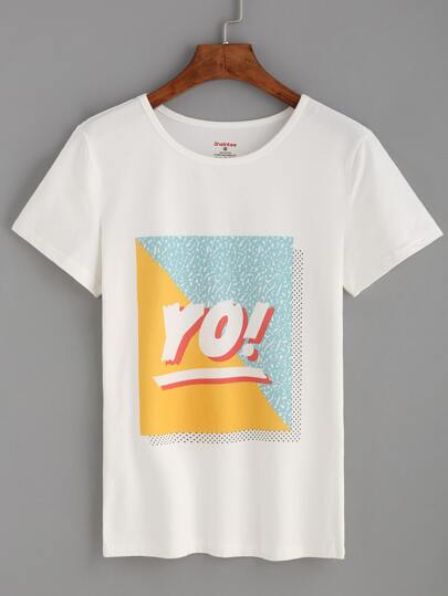 White Letters Print T-shirt