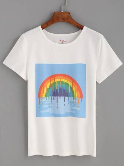 White Rainbow Print T-shirt