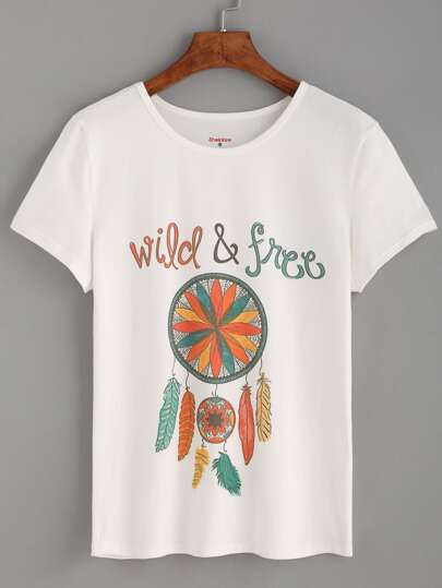 White Feather Print T-shirt