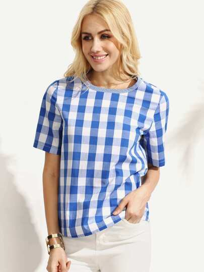 Blue Gingham Short Sleeve Blouse