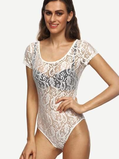 White U Back Short Sleeve Lace Bodysuit