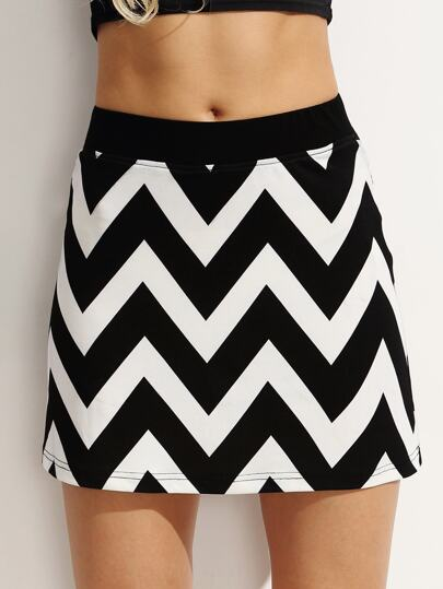 Black and White Zigzag A Line Skirt