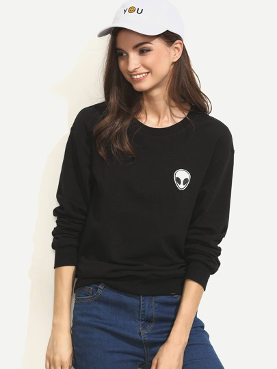 Black Applique Long Sleeve Sweatshirt