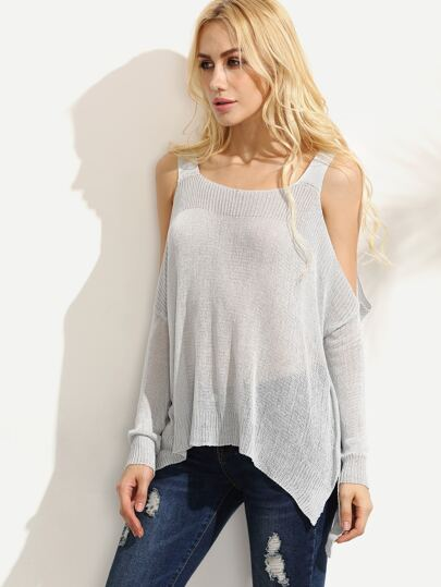Grey Cold Shoulder Knitted T-shirt