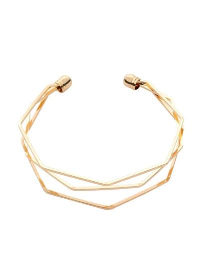 Golden Multilayer Geometric Open Cuff Bracelet