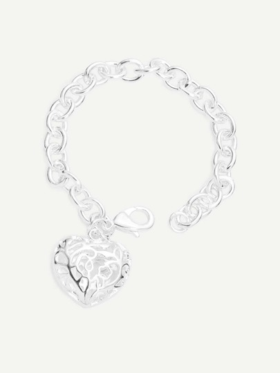 Silver Heart-shaped Ornament Chain Bracelet