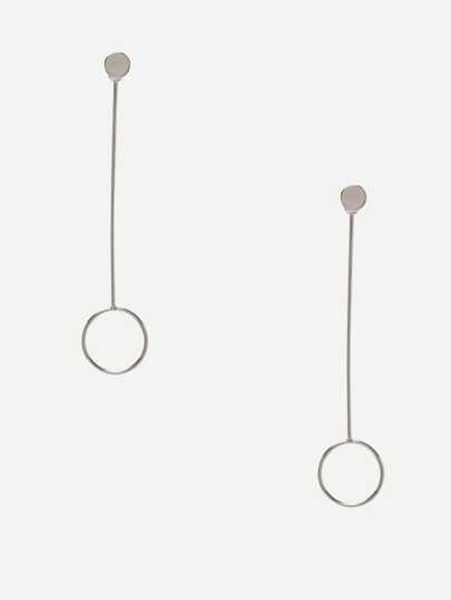 Silver Minimalist Circle Drop Earrings