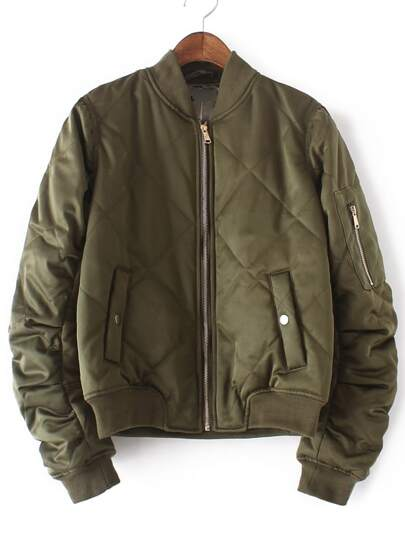 Army Green Crew Neck Rib-knit Cuff Pockets Jacket