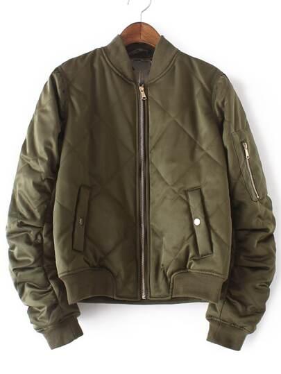 Army Green Crew Neck Rib-knit Cuff Pockets Jacket