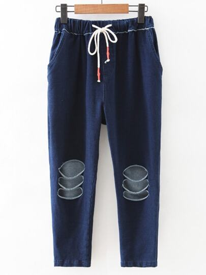 Dark Blue Drawstring Waist Ripped Pants
