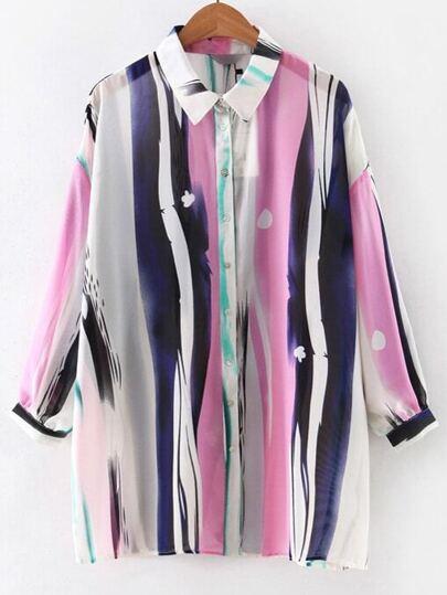 Multicolor Lapel Printed Buttons Long Blouse
