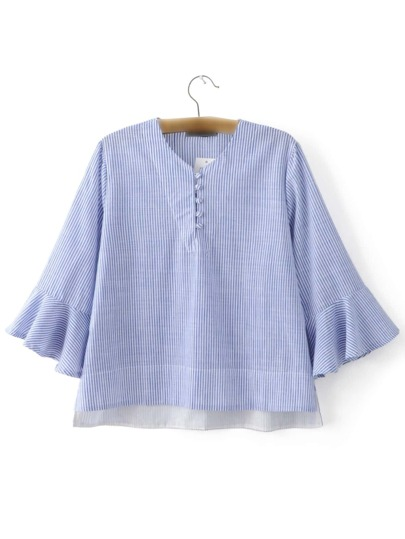 Blue Ruffle Sleeve High Low Stripe Blouse