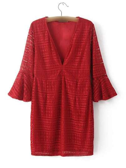 Burgundy Deep V Neck Bell Sleeve Lace Dress