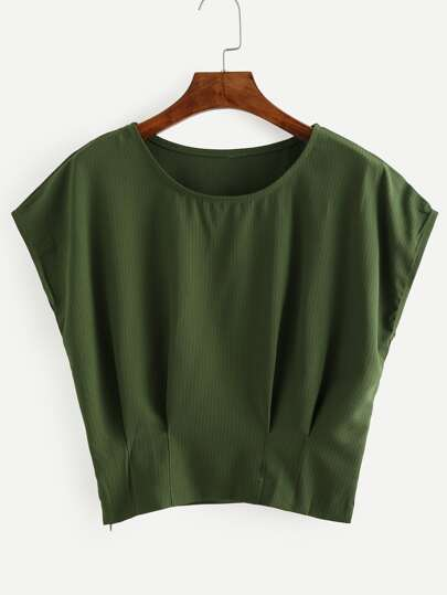 Green Pleated Dolman Sleeve Blouse