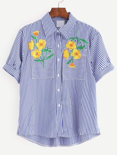 Embroidery Blue Pinstripe Dip Hem Blouse