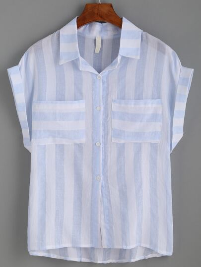 Blue Stripe Cuffed Sleeve Blouse With Pockets
