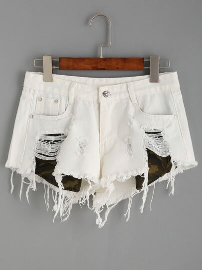 White Ripped Tassel Shorts