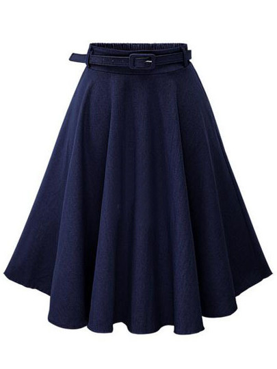 Navy Denim Flared Mid Skirt With Belt