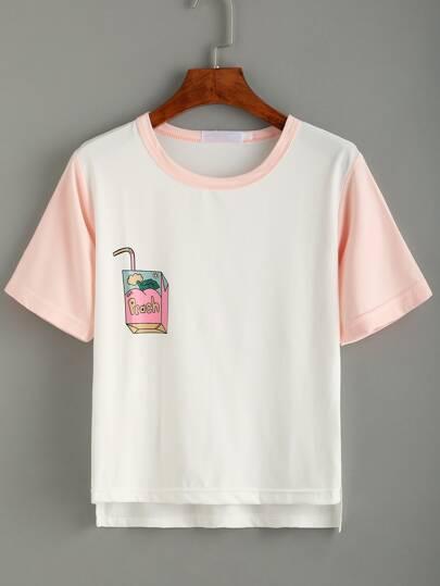 White Print Contrast Trim Dip Hem T-shirt