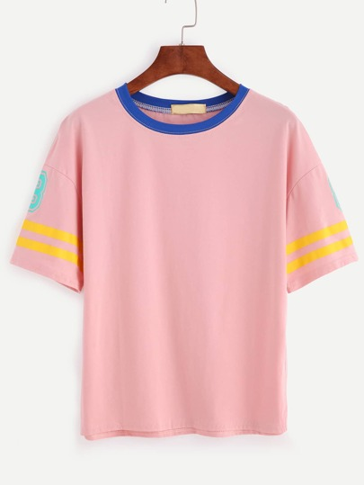 Pink Number Print Contrast Striped Trim T-shirt