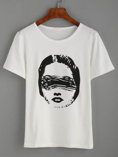 White Print Casual T-shirt