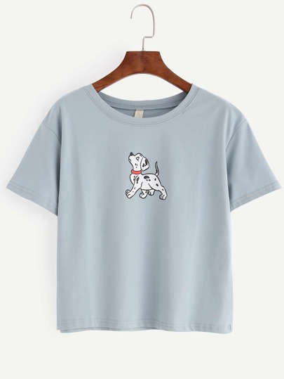 Blue Dog Print T-shirt