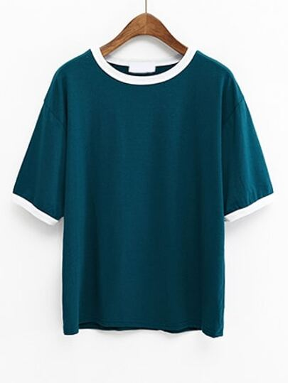 Green Contrast Trim Drop Shoulder T-shirt