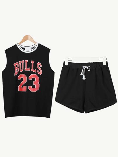 Black Basketball Tank Top With Drawstring Shorts