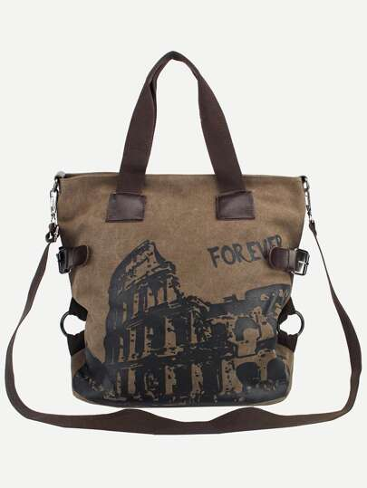Coffee Colosseum Print Canvas Tote Bag With Strap