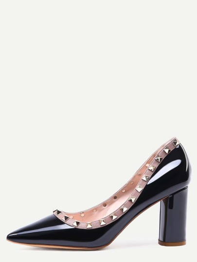 Black Pointed Toe Studded Trim Chunky Pumps