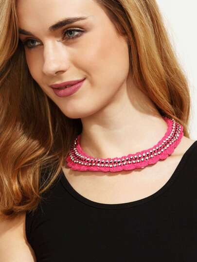 Hot Pink Diamond Crochet Necklace