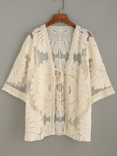 Beige Embroidered Mesh Kimono