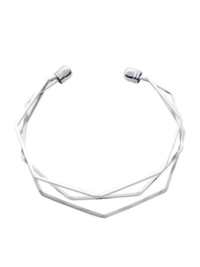Silver Multilayer Geometric Open Cuff Bracelet