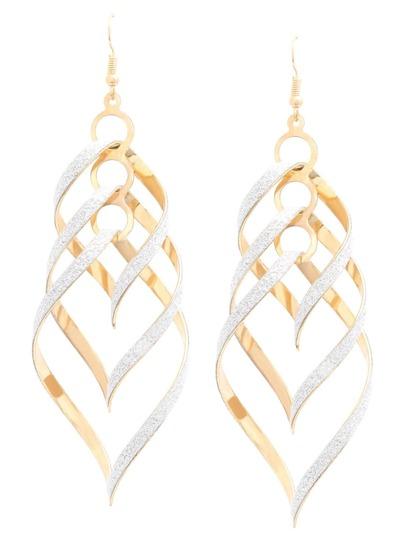 Golden Geometric Matte Drop Earrings