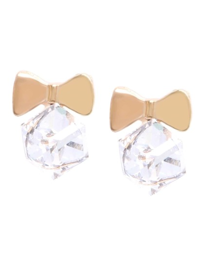 Cubic Crystal Bow Drop Earrings