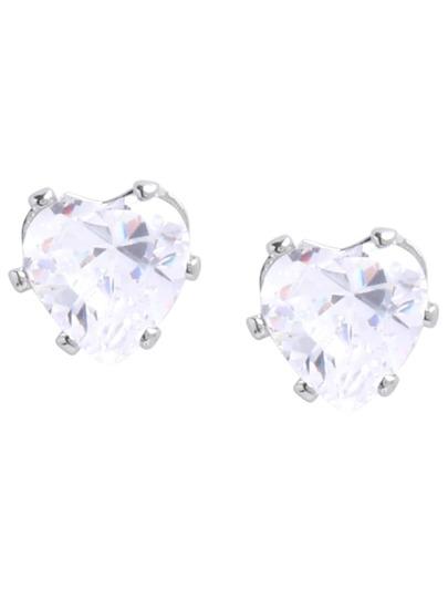 Heart-shaped Diamond Stud Earrings