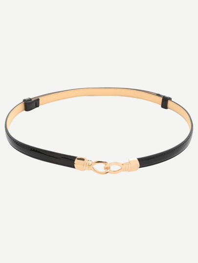 Black Interlock Thin Belt