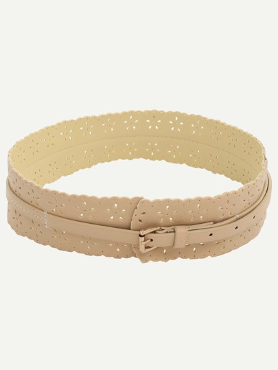 Khaki Hollow Buckle Knotted Wide Belt