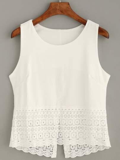 White Crochet Trim Tank Top