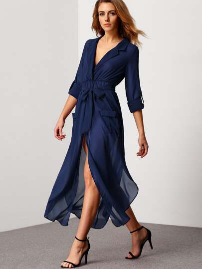 Royal Blue Deep V Neck Self-Tie Pockets Chiffon Dress