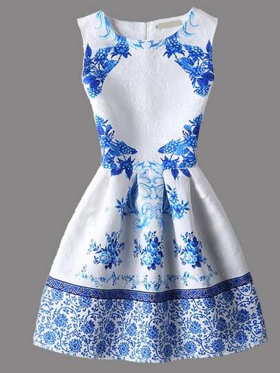 White Vintage Print Sleeveless Zipper Flare Dress