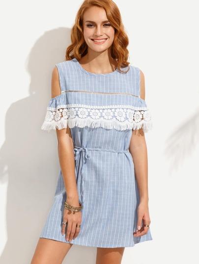 Open Shoulder Vertical Striped Contrast Lace Fringe Dress