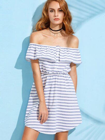 Blue Striped Ruffle Off The Shoulder Dress