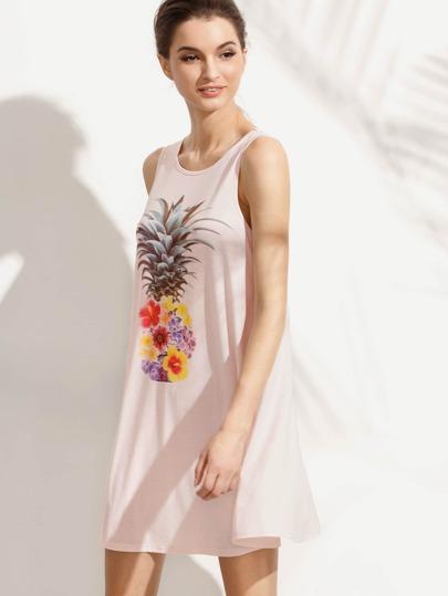 Pink Print Casual Sleeveless Dress