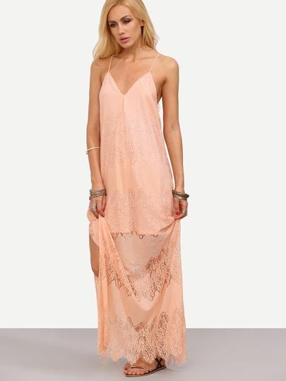 Pink Spaghetti Strap Split Lace Maxi Dress