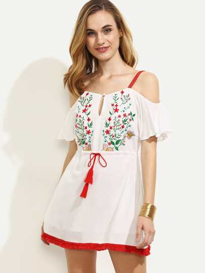 White Embroidered Tie Waist Fringe Hem Dress
