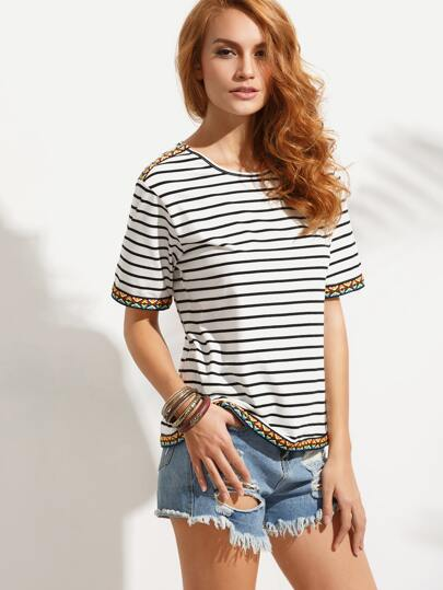 Black and White Striped Applique Trim T-shirt